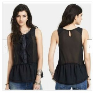 FREE PEOPLE PAINT THE TOWN LEATHER TRIM TUXEDO TOP